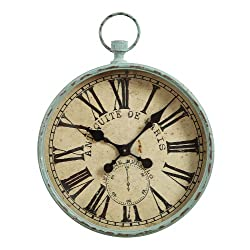 Creative Co-op Metal Antiquite De Paris Pocket Watch Wall Clock