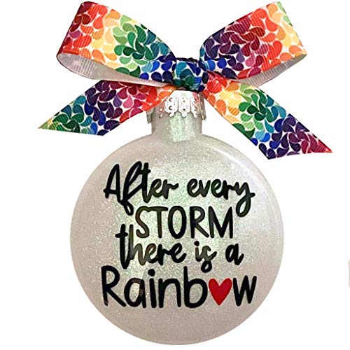 After Every Storm There is a Rainbow Glass Glitter Christmas Ornament