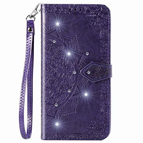 Coque de protection en cuir PU pour Samsung Galaxy A72 avec motif mandala et strass - Avec support et porte-cartes - Violet