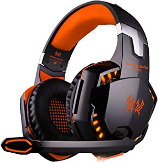 Gaming Headset Gaming Headset, Gaming Headset PS4 Stereo LED Headband Wired Headphones Over Ear with Microphone for PC Computer Laptop Games with Noise Cancelling (Color : Orange)