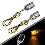 BASIKER Motorcycle Universal Lights use for Turn Signals, Running, Side Marker, Decoration Motorbike | Amber Lights Black Housing