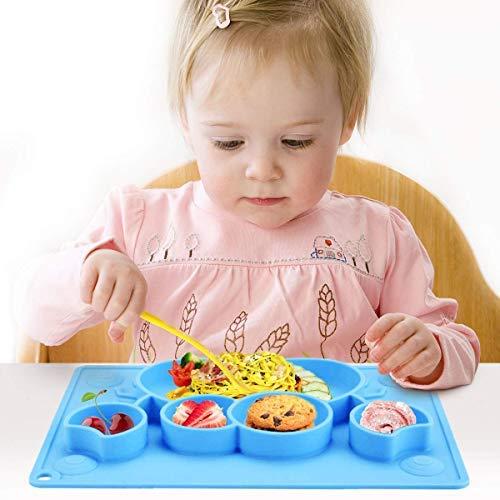 Charminer Mantel Individual Silicona bebé, Plato Cuenco Incorporado para Niños y Bebés Fuerte Succión Ventosa Divididas Placemat Bandeja Portátil Regalo para el Destete y Bautizo