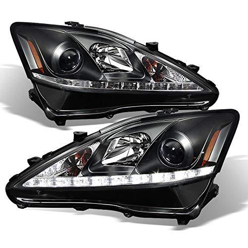 ACANII - For [Halogen Model] 2006-2010 Lexus IS250 IS350 LED Black Light Bar Projector Headlight Headlamps Left+Right