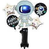 DIWULI, juego de globos espaciales de astronauta grande, globo XL número 1 negro, globos de lámina de feliz cumpleaños, 1º cumpleaños infantil, fiesta temática, decoración, cohete, nave espacial