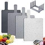 Tabla de Cortar Cocina Plástico 4 Unidades, Tablas de Cortar Con Mango y Estante, Sin BPA, Para...