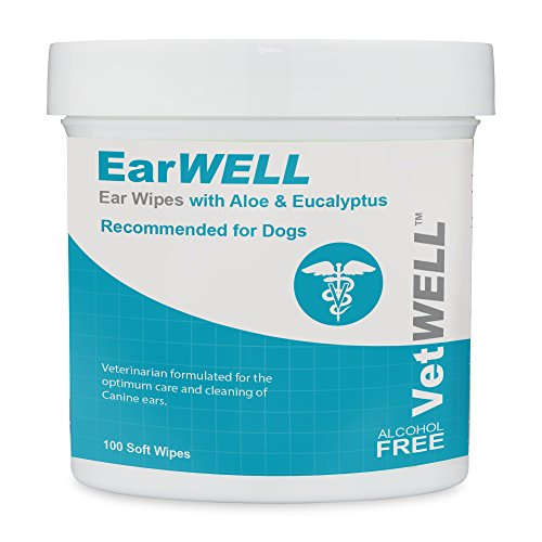 VetWELL Dog Ear Wipes - Otic Cleaning Wipes for Infections and Controlling Yeast, Mites and Odor in...