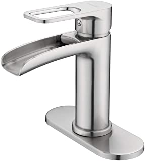 NEWATER Waterfall Spout Bathroom Sink Faucet Basin Mixer Tap Single Handle Brushed Nickel
