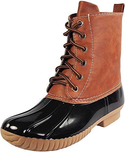 AXNY Damen Schnürschuhe zweifarbig Combat Style Wade Regenstiefel, Schwarz (schwarz), 37.5 EU