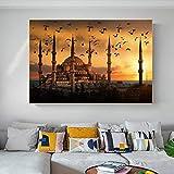 BIGSHOPART Cuadros de pared con diseño de mezquita azul en Estambul, paisaje de pintura, póster e impresiones de puesta de sol, arte de pared, imágenes para decoración del hogar, 40 x 60 cm, sin marco