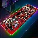Alfombrillas de ratón Alfombrilla de ratón para Juegos RGB de una Pieza de Anime Accesorios para PC Almohadilla para Teclado con retroiluminación LED XXL 30x70x0.4cm
