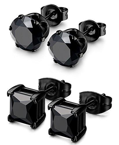 Besteel 2 Pairs Stainless Steel Mens Womens CZ Stud Earrings Pierced Earrings Black 20G 5mm