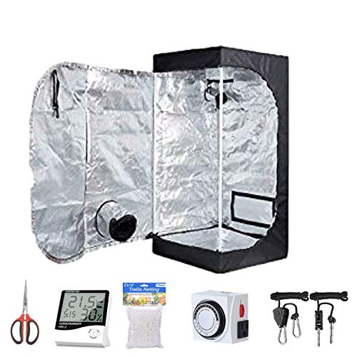 Oppolite Hydroponic 16'X16'X48' Indoor Grow Tent Kit W/Analog Timer+Humidity Monitor+Bonsai Shear+5'X15' Net Treill+Grow Light Hangers for Indoor Plant Growing (16'X16'X48')
