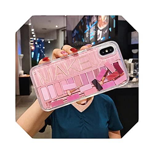 Lujosa caja de sombra de ojos Dynamic Liquid Capa Coque Phone Case para iPhone 7 8 P XS Max XR Cosméticos Maquillaje Quicksand Cover Case Shadow Rosa - Para iPhone 7