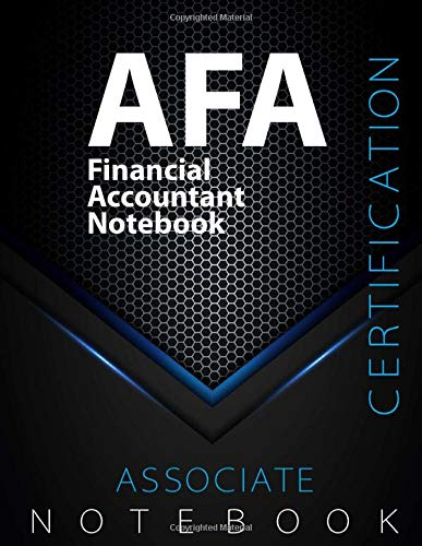 """AFA Notebook, Financial Accountant Certification Exam Preparation Notebook, 140 pages, AFA examination study writing notebook, Dotted ruled/blank ... 8.5"""" x 11"""", Glossy cover pages, Black Hex"""