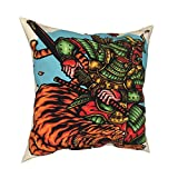 biye Throw Pillowcase Pillow Covers 18x18Inch Armored Japanese Ronin Warrior and Tiger Decoration for Home Decor Office Sofa Holiday Bar Coffee Wedding Car