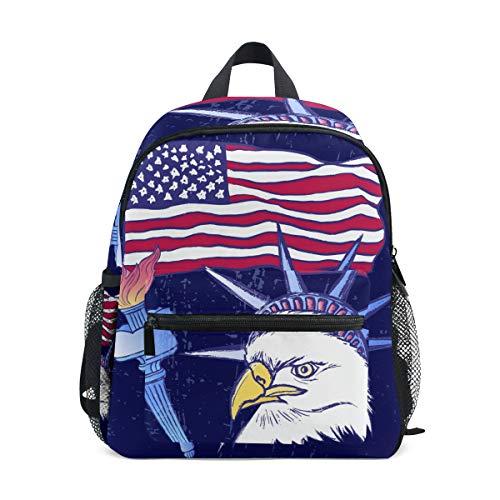 iRoad American Flag Eagle Torch Bambini Scuola Borse Zaino per Bambini Leggero Scuola Sacchetti per Ragazze Ragazzi Ragazzi Ragazzi Scuola Primaria