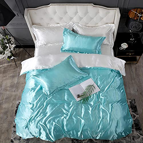 juegos de sábanas 105 x 190,Lavar la seda de hielo es una hoja de manga cuatro conjuntos de regalos de suministros de cama de color sólido-S_1,5 m de cama (4 piezas) (20 series de 200 * 230)