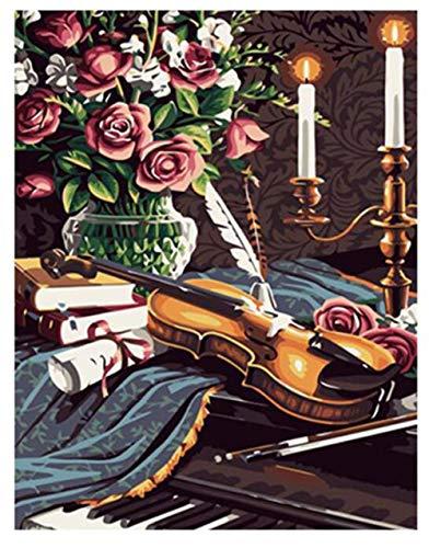 Jcpaint Malen nach Zahlen DIY Ölgemälde für Kinder Erwachsene Anfänger Geige 16x20 Zoll Leinwanddruck Wandkunst Dekoration Ohne Rahmen
