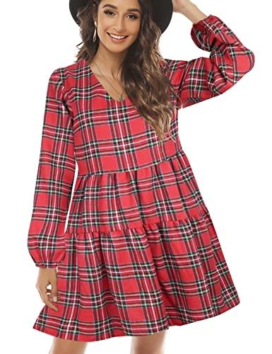 FANCYINN Vestido a Cuadros para Mujer con Manga Larga con Campana Mini Vestido con Volantes y Bolsillos Rojo y Amarillo M