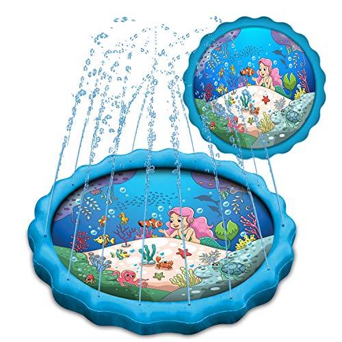 DADDY COOL Mermaid Sprinkler for Kids, Inflatable Pool, Wading Swimming Pool for Kids, Sprinklers for Yard Kids, Kiddie Pool, Toddler Pool, Baby Pool, Kids Sprinkler Splash Play Mat, Large Size 68'
