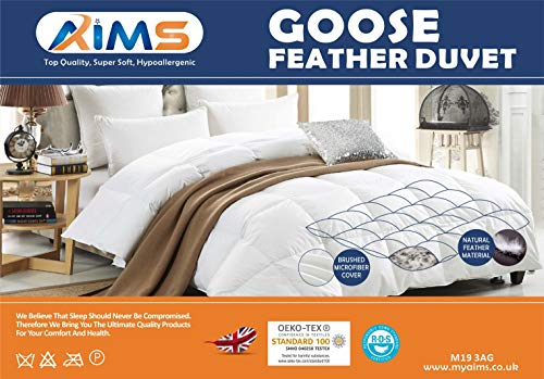 GOOSE Feather Down Quilt 13.5 Tog Deluxe Duvet | Best Hotel Quality | Super Soft | Warm and Cosy | Anti Allergy | Computer Quilted Construction, Self-fabric piping (Double)