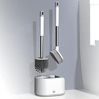 Brosse de Toilette Silicone,Brosse WC Brosse de Toilettes à Séchage Rapide,Balayette WC Ensemble Brosse de Nettoyage de Sa...