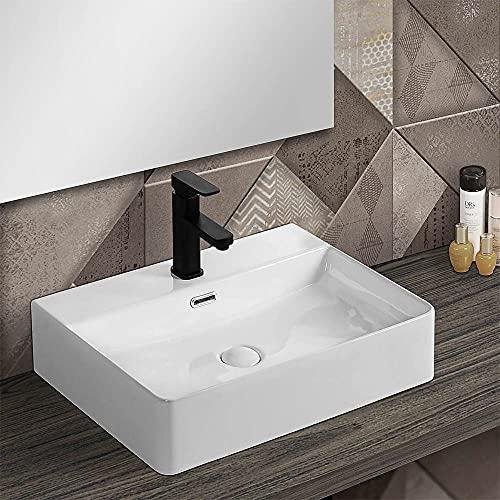 Lavabo in ceramica da appoggio rettangolare, L.50xP.42xH.13 cm, bianco lucido con foro rubinetteria (Larghezza 50 cm)