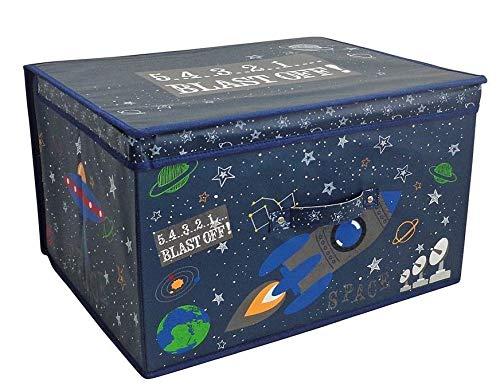 Large Collapsible Jumbo Storage Box Folding Storage Chest Kids Room Tidy Toy Box (Blast Off)