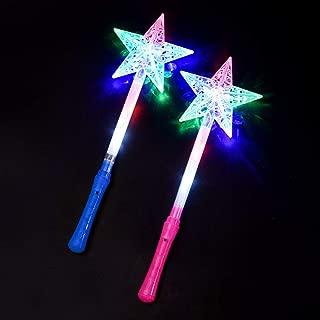2pcs LED Flashing Star magic wand Light-up Princess Wand Christmas Stick LED Cute Fairy Light Magic Wand Sticks Kids Girls Toys