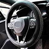 SHIAWASENA Bling Diamond Car Steering Wheel Cover, PU Leather with Crystal Rhinestones, Universal 15 Inch Fit (Black)