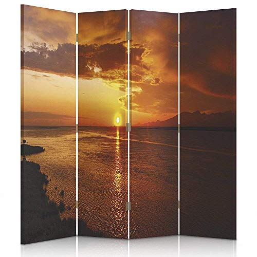 Feeby Frames. Ruimteverdeler, bedrukt op canvas, doek, wandscherm, decoratieve scheidingswand, landelijke zee, zonsondergang, strand, oranje, stralen 145 x 150 cm, 2 maten.