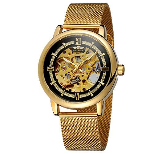 UINGKID Herren Uhr analog Quarz Armbanduhr wasserdicht Uhren Fashion Hollow Design Business Fashion mechanische Uhr
