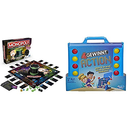 Hasbro Gaming E4816GC2 Monopoly Voice Banking, sprachgesteuerter Familienspiel ab 8 Jahren, Multicolor & E3578100 4 gewinnt Action, temporeiches Kinderspiel, blau