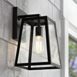 Arrington Modern Outdoor Wall Light Fixture Black 13' Clear Glass Antique Edison Style Bulb for Exterior House Porch Patio - John Timberland