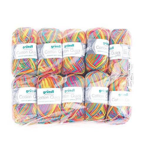 Gründl Cotton Quick Print Wolle, Baumwolle, carneval Multicolor, 35 x 24 x 7 cm
