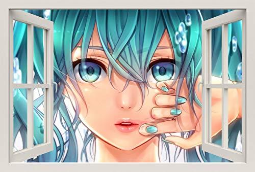 Unified Distribution Anime & Manga - Vocaloid Miku - Wandtattoo mit 3D Effekt, Aufkleber für Wände und Türen Größe: 92x61 cm, Stil: Fenster
