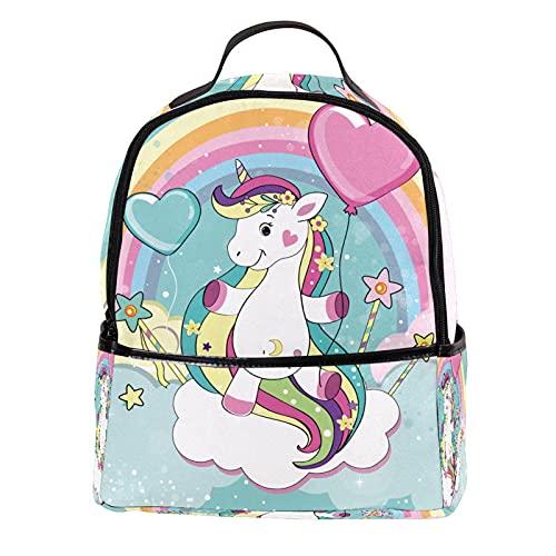 ATOMO - Mini zaino casual con unicorno, con nuvole arcobaleno, in pelle PU, da viaggio