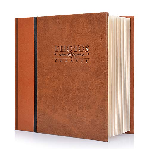 Photo Album Self-Stick Page Photo Album, Family Album, Leather Cover, Hand Made DIY Albums, Waterproof Albums, Dustproof Albums, Albums For Storage weddings, Travel Mini Photo Album (Brown)