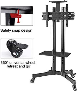 Tv Stand Tv Floor Stand Mount for 32 43 50 55 65 70 Inch Plasma LCD LED Screen, Mobile Tv Stand Tv Cart with Rolling Wheels a