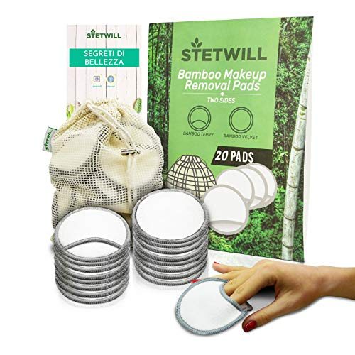 Stetwill, Reusable Cotton Pads, 20 Pack,Bamboo Makeup Face Remover,Plastic...