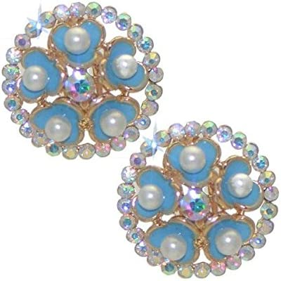 BRYLEN Gold tone Turquoise Flower AB Crystal Clip On Earrings