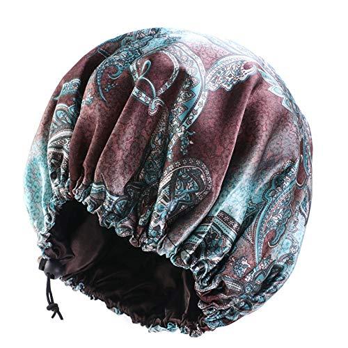 GUOYANGPAI Frauen Doppelschicht Silky DU-RAG Haarbezug Zubehör, Wave Caps, Lumpen BlumenBonnet Salon Hut, Kaffeegrün, Größe passt für alle