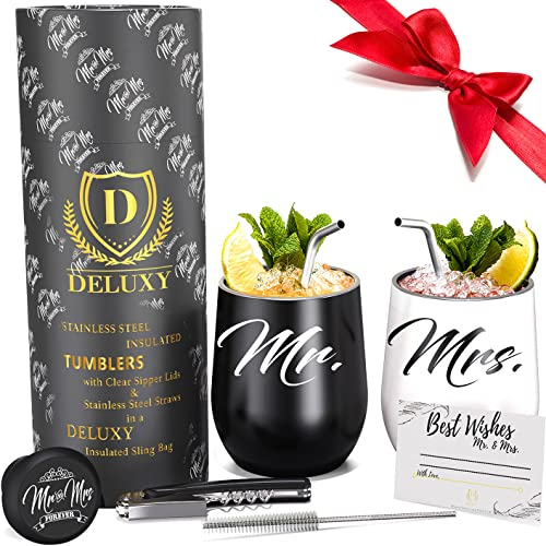 DELUXY Mr and Mrs Wine Tumblers- Wedding Gifts For Couples Unique...