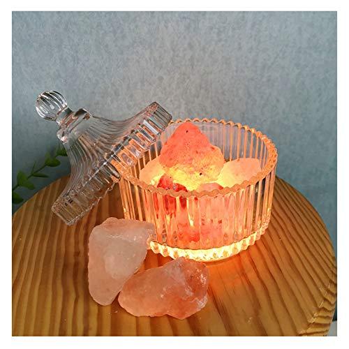 EIU Lámpara De Sal De Cristal del Himalaya Natural Puro, 7 Colores con Control Remoto, Lámpara De Sal De Roca De Cristal, Mesita De Noche, Regalo De Luz Nocturna