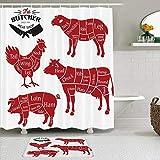 Duschvorhang Sets mit rutschfesten Teppichen,Chart Cut Chicken Cattle Fleisch schneidet Diagramm Diagramme Metzger Schema Vorbereitung Schwein Vintage Brisket, Badematte + Duschvorhang mit 12 Haken