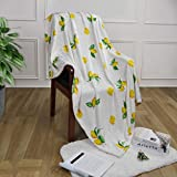 Lemon Blanket Throw, Yellow Fruit Throw Blanket for Adults Kids, Cozy Lightweight Fuzzy Flannel Blankets for Spring Summer, Soft WarmFluffy Blanket for Bed Couch Sofa Travelling, 50' x 60'