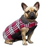 Wooce Cappotto scozzese reversibile per cani Autunno Inverno Caldo e accogliente gilet imbottito da cane stile inglese per cani di taglia piccola di media taglia Rosso-S