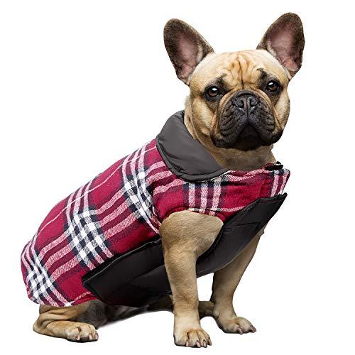 Wooce Cappotto scozzese reversibile per cani Autunno Inverno Caldo e accogliente gilet imbottito da cane stile inglese per cani di taglia piccola di media taglia Rosso-M