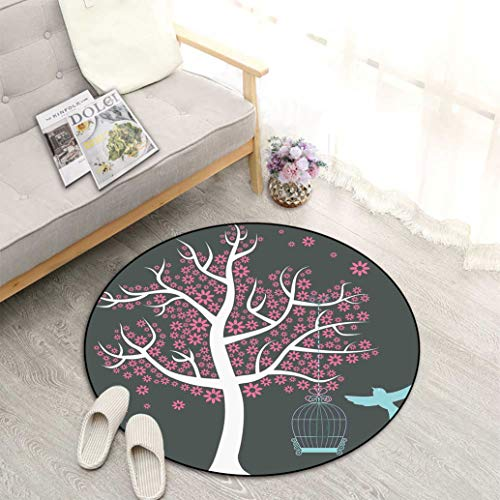"""Tree Best Non-Slip Round Area Rug, Tree with Seafoam Bird Cage and a Bird Flowers for Leaves Nature Freedom Perfect Mats for Any Indoor Uses and Decorations, Diameter 27"""" Grey Pink Pale Grey"""