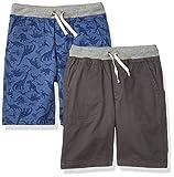 Amazon Essentials Pantalones Cortos para Niños, Paquete de 2 Dinosaurios Azules/Gris Oscuro, S